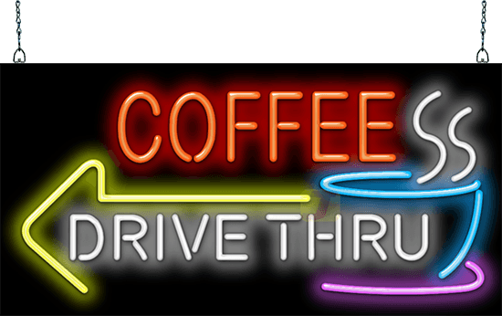 Coffee Drive Thru With Left Arrow Neon Sign Fc 35 19 L Jantec Neon