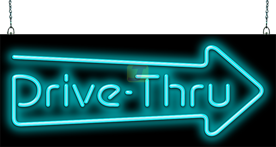 Drive-Thru Neon Sign with Right Arrow