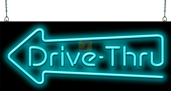 Drive-Thru Neon Sign with Left Arrow