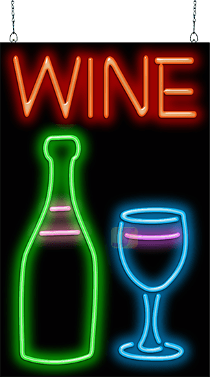 Wine With Wine Bottle And Glass Neon Sign Fl 40 04