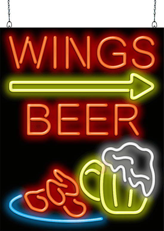 Wings Beer With Right Arrow Neon Sign Fp 50 06 Jantec Neon
