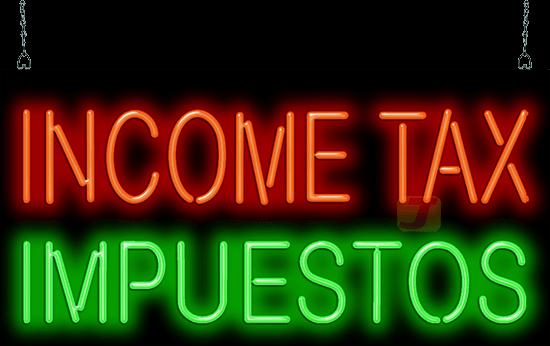 Income Tax Impuestos Neon Sign Fs 35 59 Jantec Neon
