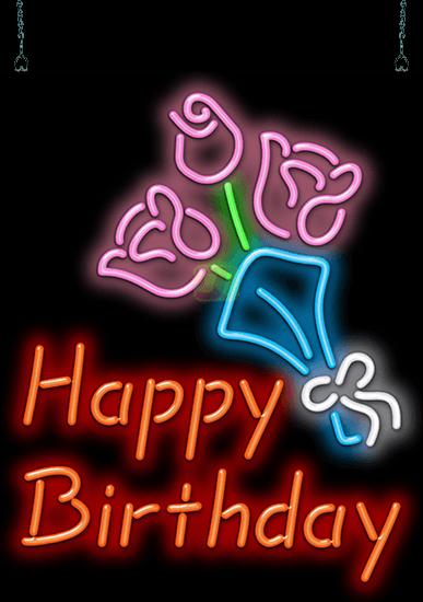 Happy Birthday With Flowers Neon Sign Gf 50 01 Jantec Neon
