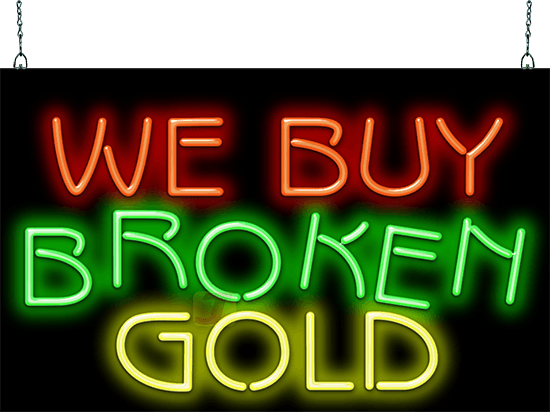 We Buy Broken Gold Neon Sign