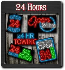 24 Hours Neon Signs